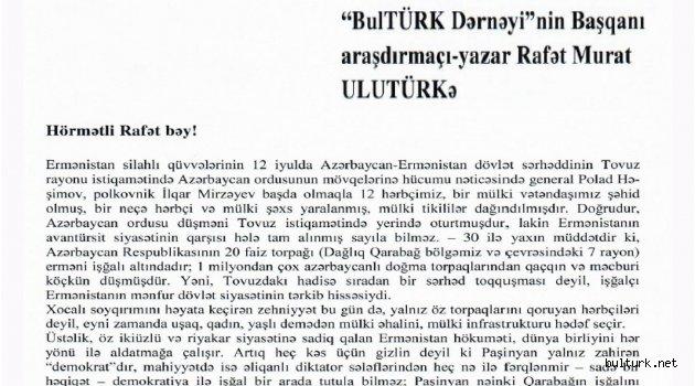 Azerbaycandan Teşekkür Belgesi