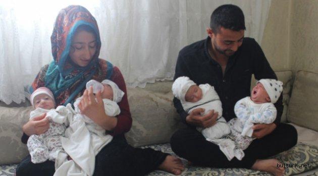 Dördüz bebekleri olan çift hem mutlu hem dertli